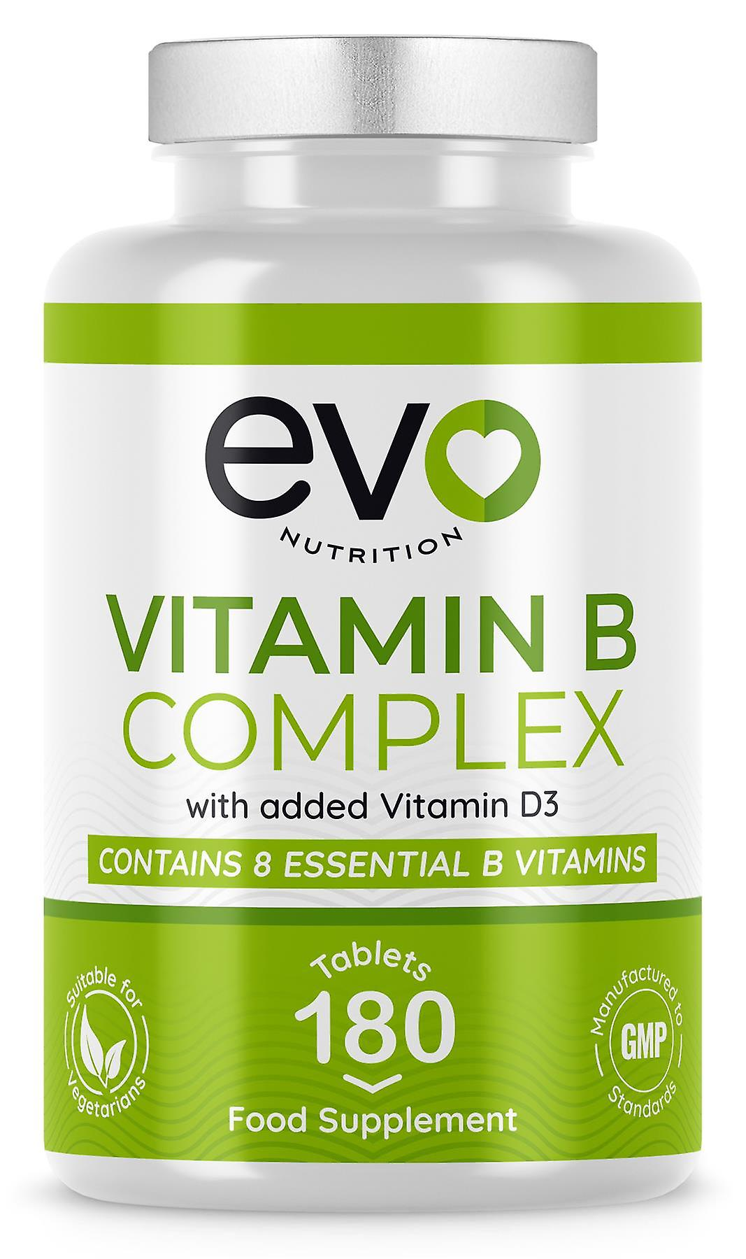 Vitamin B Complex enriched with Vitamin D3 (180 Tablets) - Evo Nutrition