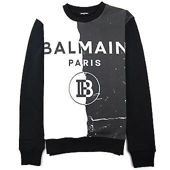 Balmain Paris Impreso Logo Sudadera Negro/Blanco