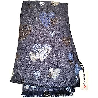 Dark Blue Hearts Print Scarf by Butterfly Fashion London