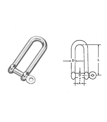 10mm Stainless Steel 316 (a4) Long D Shackle