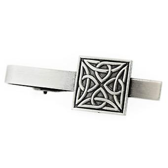 Pewter Celtic Holy Trinity Knots Square Shaped Tie Bar