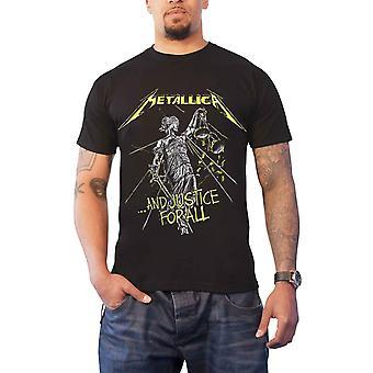 Camiseta do Metallica e Justiça para todas as faixas de volta imprimir novo Oficial Mens Black