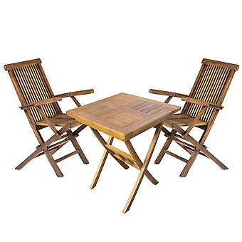 Wooden Square Garden Dining Drinks Table and 2 Outdoor Folding Chairs Bistro Set