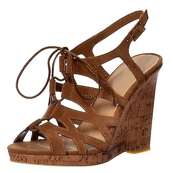Onlineshoe Open Toe Gladiator Lace Up Cork Wedge Heel Sandal