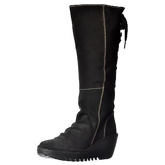 Fly London Yust Mid Calf Extra Wide Fitting Winter Boot - Low Wedge Cleated Sole