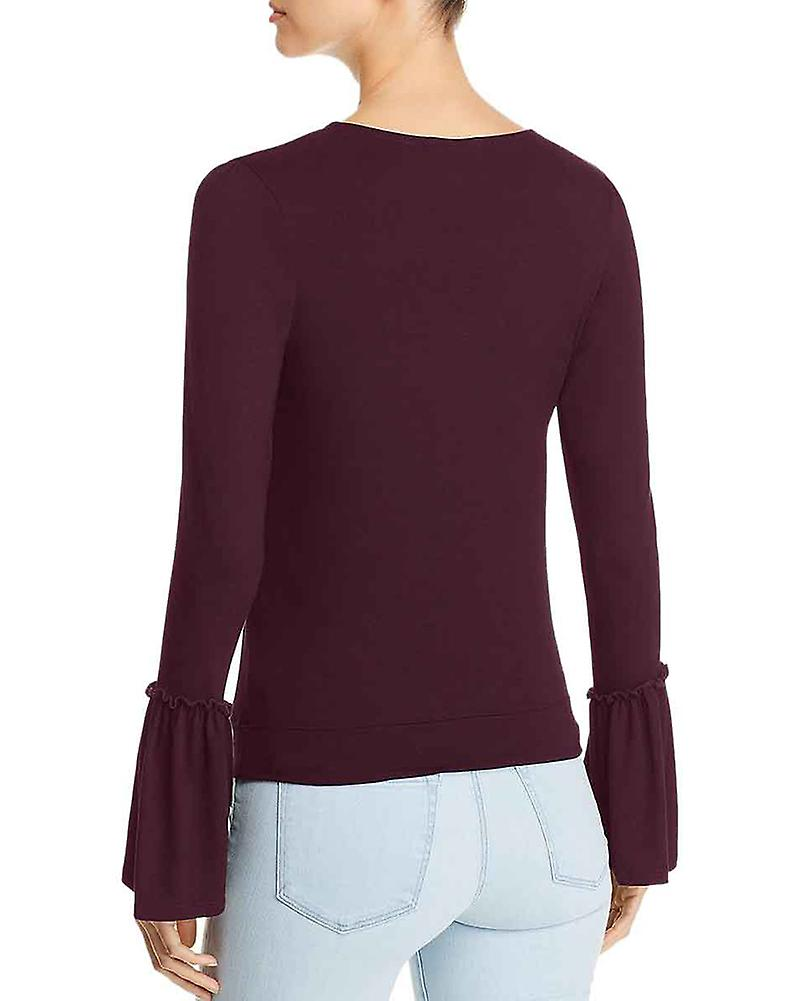 Red Haute Womens V Neck Pullover Top