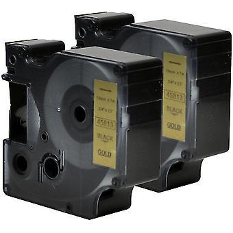 Kaseta Prestige™ kompatybilna d1 45813 czarna na złotych taśmach (19mm x 7m) dla producentów etykiet elektronicznych