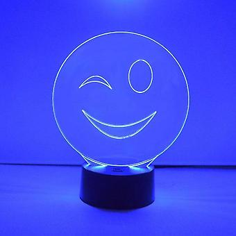 Smiley Emoji Colour Changing LED Acrylic Light - Wink