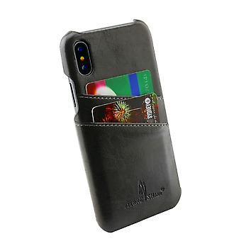 IPhone XS, X tapauksessa tyylistä Deluxe kestävä suojaava nahkakansi, harmaa