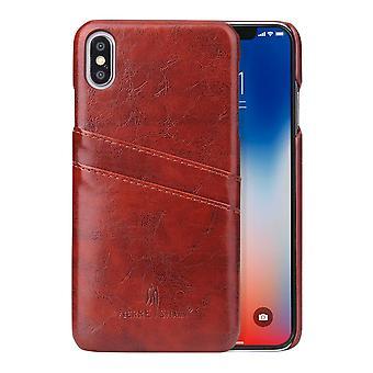 ajaksi iPhone XS MAX kansi, deluxe lompakko avulla karstata lovi nahkainen soittaa puhelimella asia, ruskea