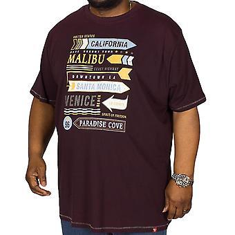 Duke D555 Mens Norris Big Tall Short Sleeve Crew Neck Chest Print T-Shirt - Plum
