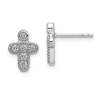 925 Sterling Silver Polished CZ Cubic Zirconia Simulated Diamond Religious Faith Cross for boys or girls Post Earrings