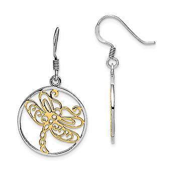925 plata esterlina Rhodium plateado oro tono libélula larga gota colgante pendientes joyería regalos para las mujeres