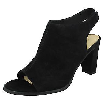 Ladies Clarks Peep Toe Heels Kaylin85 Sling - Black Suede - UK Size 8D - EU Size 42 - US Size 10.5M