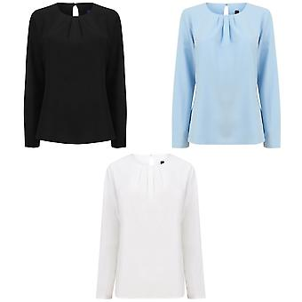 Henbury Womens / Ladies Pleat Front lång ärm Blus