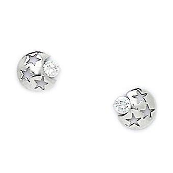 14k White Gold CZ Cubic Zirconia Simulated Diamond Large Star and Celestial Moon Screw back Earrings Measures 6x6mm Jewe