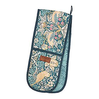 Morris & Co Strawberry Thief Double Oven Glove, Teal
