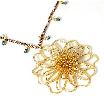 POM Goldtone Flower Pendant On 34