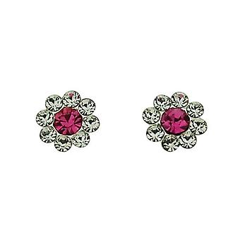 TOC Sterling Silver Clear & Pink Crystal Set Flower Stud Earrings 9mm