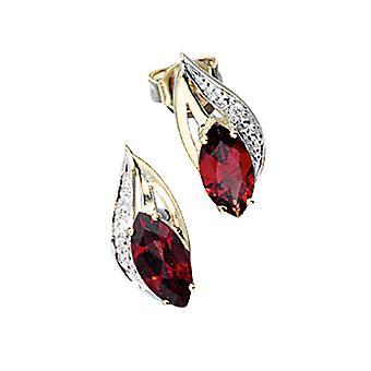 Ohrstecker 585 Gold Gelbgold 2 Diamanten Brillanten 2 Granate rot Ohrringe