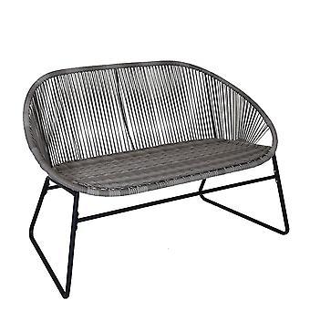 Charles Bentley Zanzibar 2 Seater Outdoor Patio Furniture Bench In Grey PE Rattan With Black Powder Coated Frame H80 x D70 x W114cm
