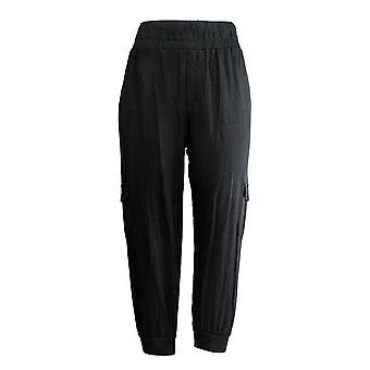Anybody Women's Petite Pants Cozy Knit Cargo Jogger Black A310165 #1
