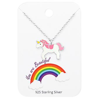 Unicorn Necklace On You Are Beautiful Card - 925 Sterling Silver Sets - W35921x
