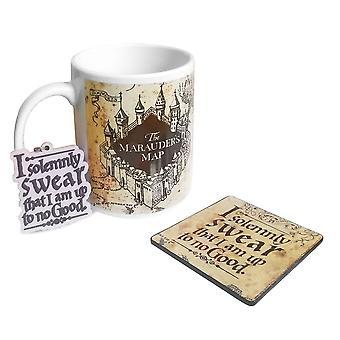 Harry Potter Marauders Kart Krus, Coaster & Nøkkelring Gave Sett