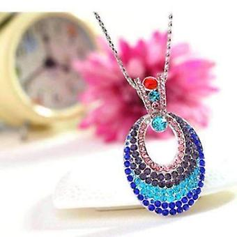 Illusions multi-colored crystal turkish eye pendant necklace