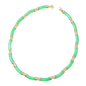 Green Jade Designer Ketting Yellow Gold Plated Sterling Silver Size 18