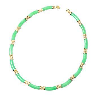 Grøn Jade Designer halskæde gul forgyldt Sterling Sølv Størrelse 18