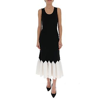 Alexander Mcqueen 610727q1amb1008 Women's White/black Viscose Dress