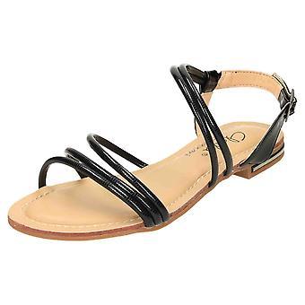 Claudia Ghizzani Flat Patent Strappy Sandals Open Toe Gladiator