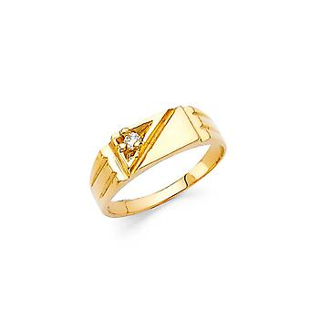 14k Yellow Gold Boys and Girls CZ Cubic Zirconia Simulated Diamond Ring Size 3 - 1.4 Grams