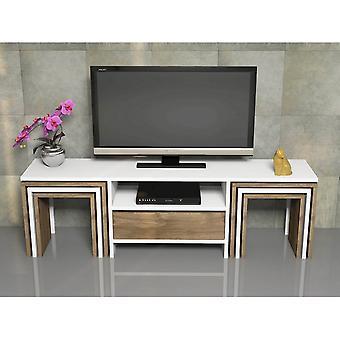 Mobile Porta TV Zygo Color Bianco, Noce in Truciolare Melaminico, PVC 140x30x41,8 cm, 40x28x39 cm, 34,4x25,2x36,2 cm, 28,8x22,4x33,4 cm