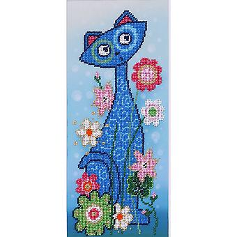 VDV Bead Embroidery Kit - Blue Cat and Flowers