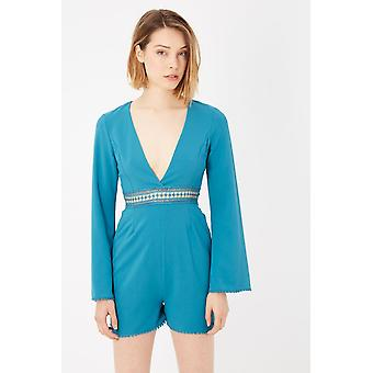 Please Blue Long Sleeve Playsuit  Dress