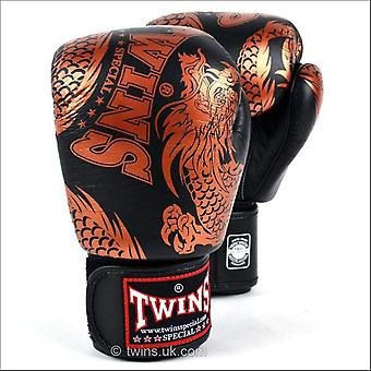 Twins special flying dragon boxing gloves - black bronze