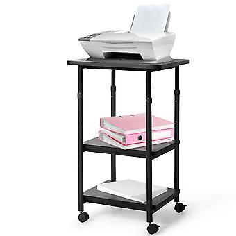 3-Tier Height Adjustable Printer Stand Beside Table Underdesk Wheels Home Office
