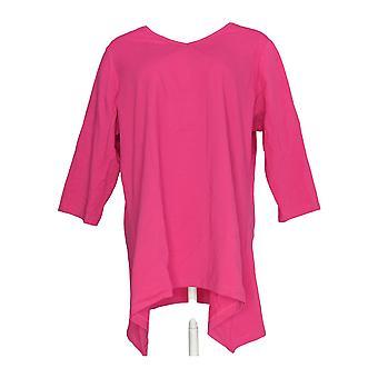 Denim & Co. Women's Plus Top Essentials Tunic w/ Trapeze Hem Pink A291614