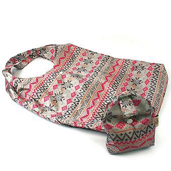 Black Ginger Shopping Hand Bag Într-o pungă pliabil reutilizabile de călătorie Tote Zigzags