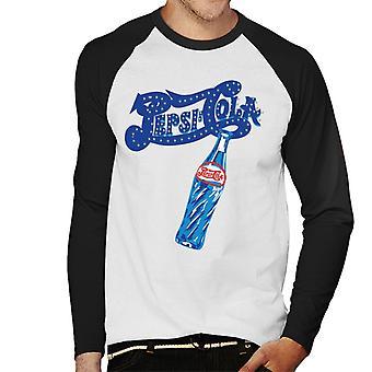 Pepsi Cola Retro funkeln Logo Männer's Baseball langärmelige T-Shirt