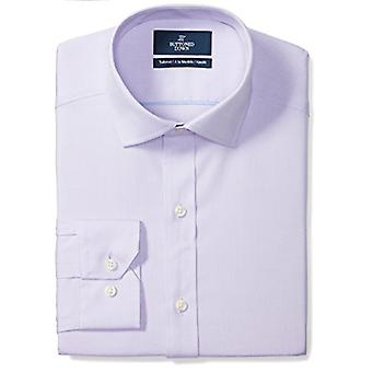 """BUTTONED DOWN Men's Tailored Fit Spread-Collar Solid Non-Iron Dress Shirt (No Pocket), Purple, 16.5"""" Neck 38"""" Sleeve"""
