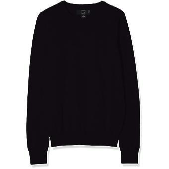 MERAKI Women's Cotton Crew Neck Sweater, (Black), S (EUA 4-6)