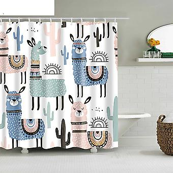 Alpaca Mønster Bath Curtain Vandtæt bruser Polyester Cartoon Bad Screen Trykt Gardin til badeværelse Hjem Decor