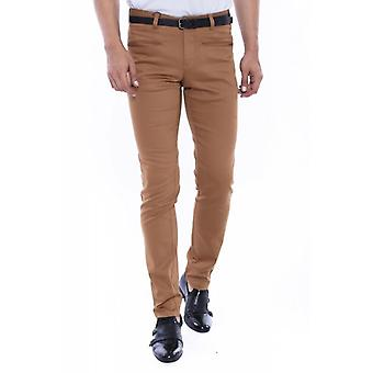 Self patterned brown blue cotton trousers