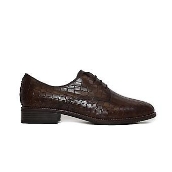 Tamaris 23303 Brown Croc Textured Leather Womens Lace Up Shoes