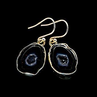 """Coconut Geode Druzy Earrings 1 1/4"""" (925 Sterling Silver)  - Handmade Boho Vintage Jewelry EARR405301"""
