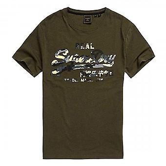 Superdry VL Füllung Logo T-Shirt gewaschen Khaki GVK
