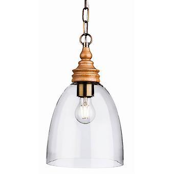1 Light Dome Ceiling Pendentif Bois Naturel avec verre transparent, E27